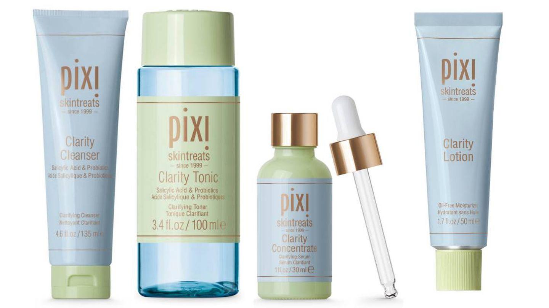 La línea Clarity de Pixi Beauty al completo: cleanser, toner, sérum y loción.
