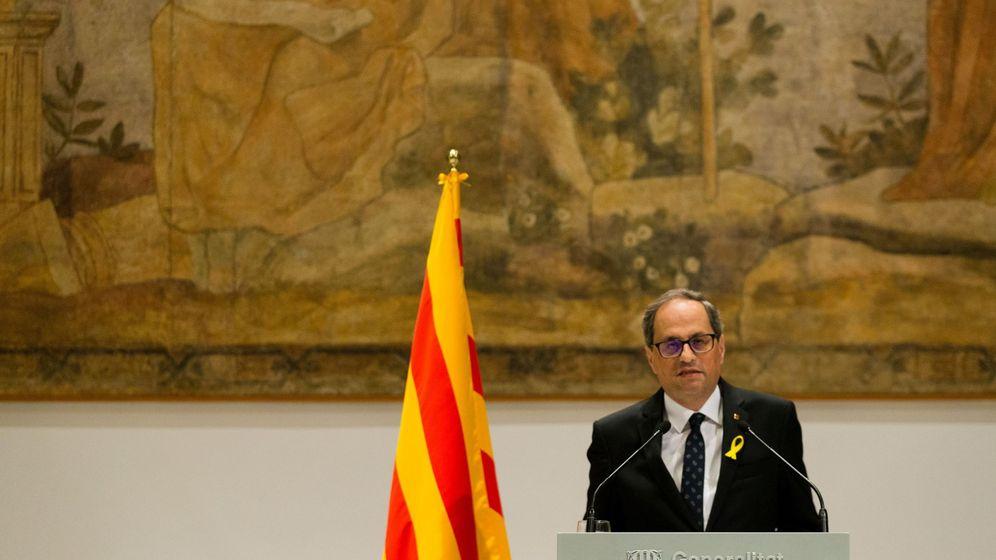 Foto: El presidente de la Generalitat de Cataluña, Quim Torra, en el Palau. (EFE)