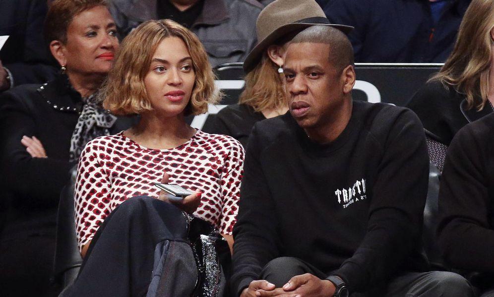 Foto: Beyonce y Jay-Z durante un partido de baloncesto
