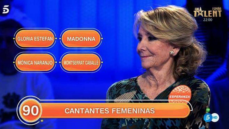 Esperanza Aguirre en 'Pasapalabra'. (Mediaset)