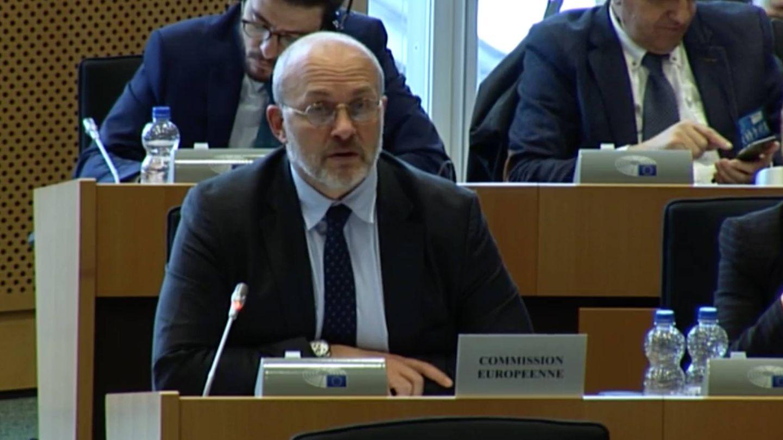 Joao Onofre, jefe de unidad de la Dirección General de Agricultura de la CE, en su comparecencia en el Parlamento Europeo.