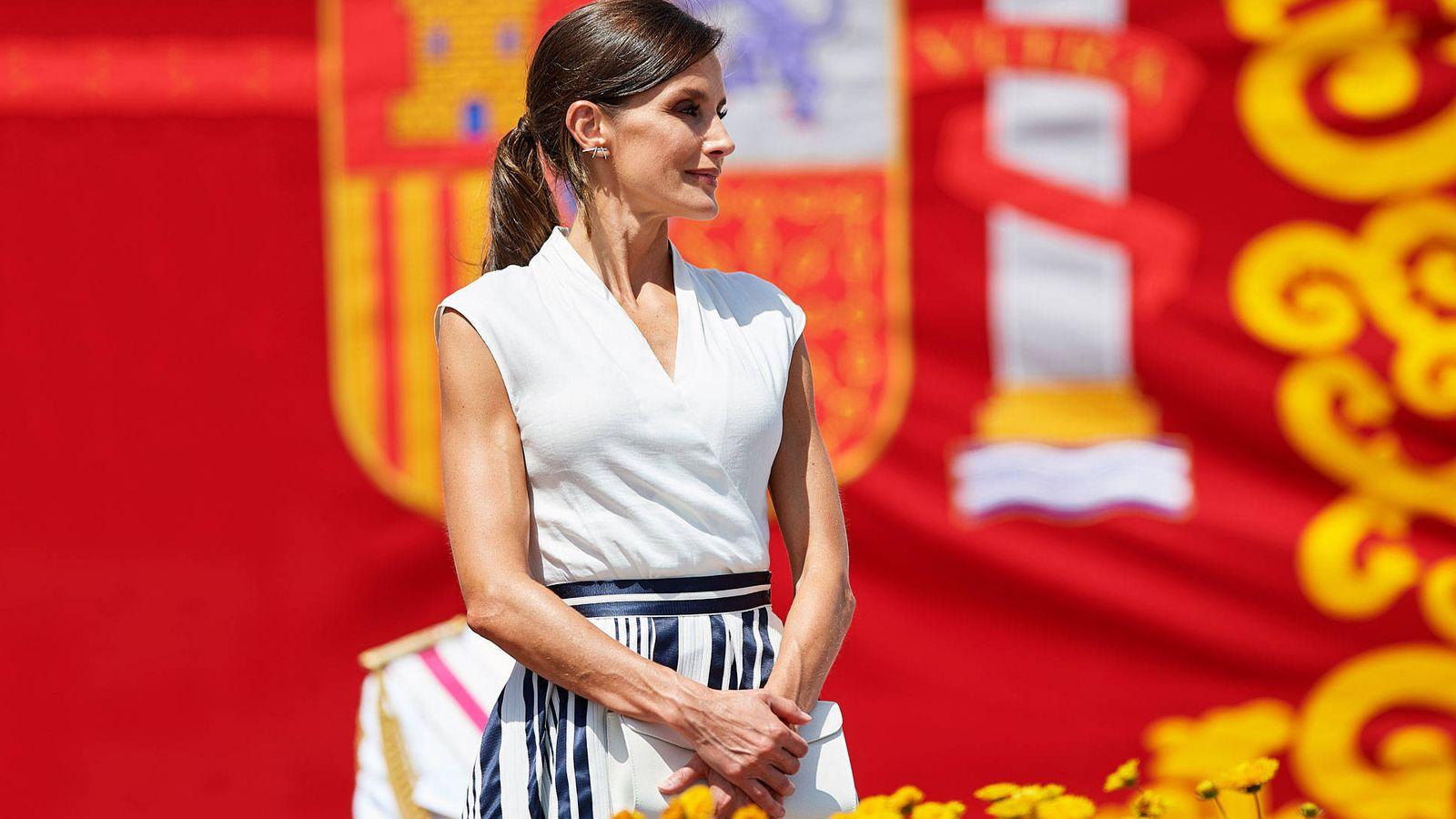 Foto: La Reina con la falda de Sweet Matitos. (Getty)