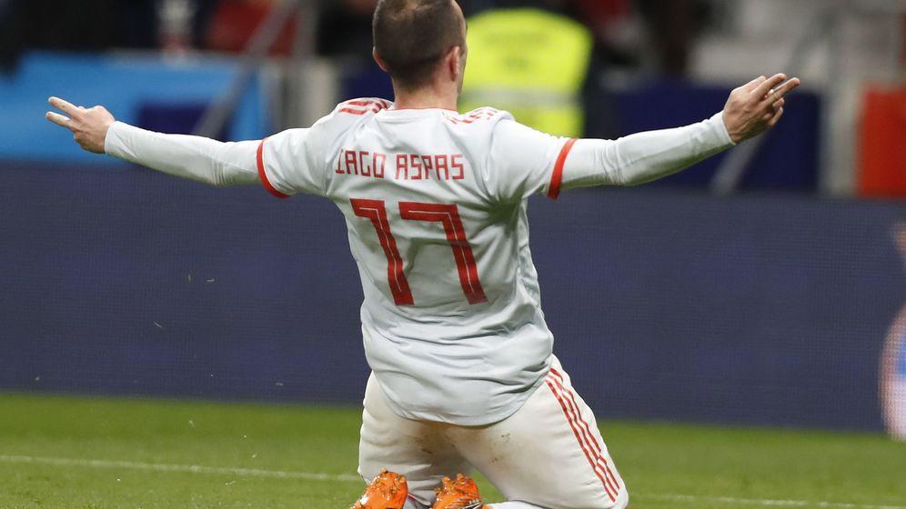 Foto: Aspas celebra un gol el pasado mes de marzo contra Argentina. (EFE)