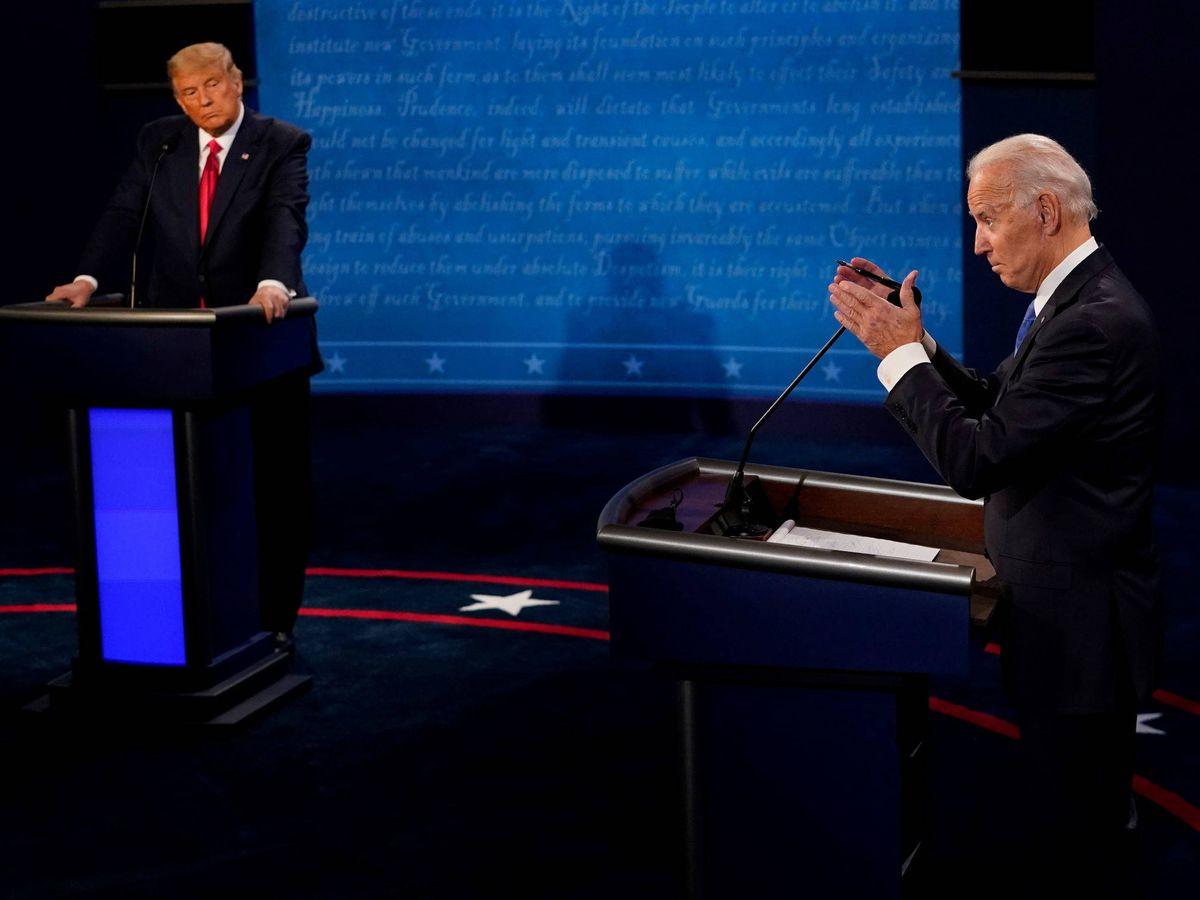 Foto: Trump y Biden, en el debate electoral. (Reuters)
