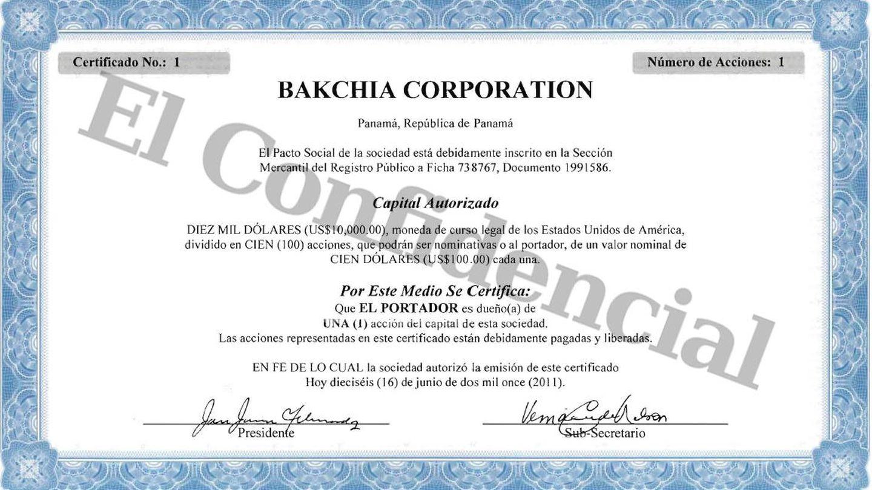 Certificado de registro de Bakchia Corporation en Panamá.