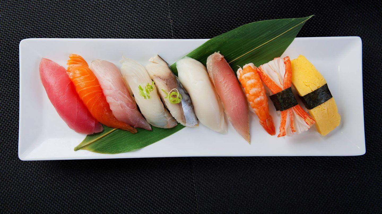 Muestrario de sushi.