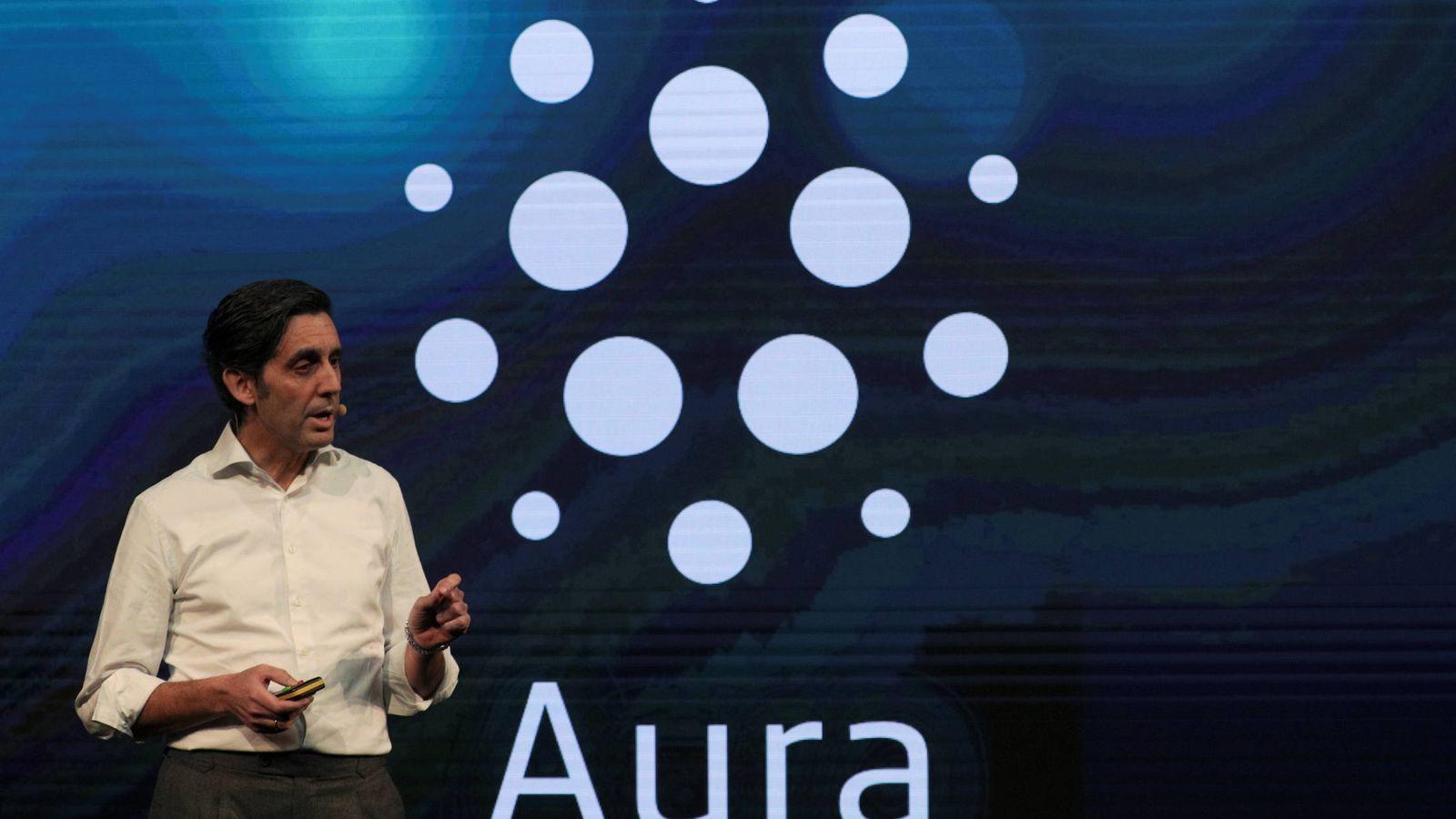 Foto: Jose María Álvarez-Pallete, presidente ejecutivo de Telefónica, durante la presentación hoy en el Mobile World Congress de Barcelona (Reuters)