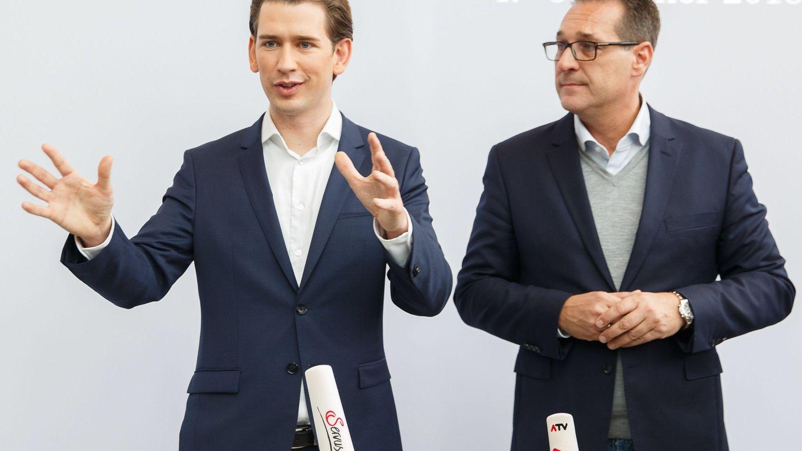 Foto: El canciller de Austria, Sebastian Kurz, junto a su socio de gobierno, el ultraderechista Heinz-Christian Strache. (EFE)