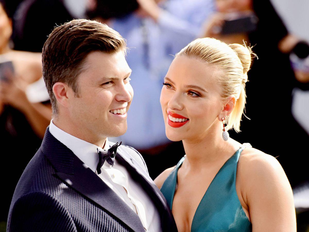 Foto: Colin Jost y Scarlett Johansson, en los Screen ActorsGuild Awards de 2020. (Getty)