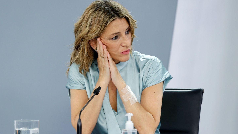 Yolanda Díaz, durante la rueda de prensa tras el Consejo de Ministros. (EFE)