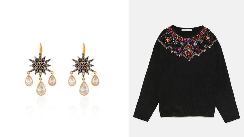 Pendientes con lágrimas de Agatha by Sara Carbonero (85 €) y jersey negro de Zara (39,95 €).