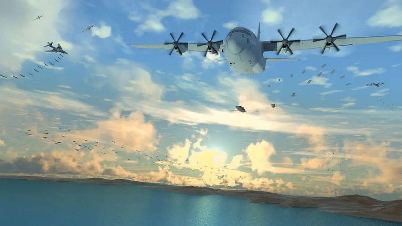 Drones lanzados desde B1B Lancers y recogidos por C130 Hercules (DARPA)