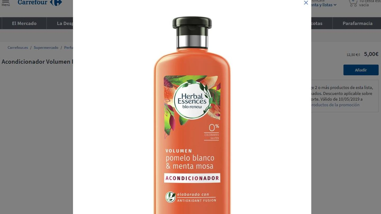 Herbal Essences asegura que ha retirado los envases 'SIN' del mercado, pero no es así. (Carrefour)