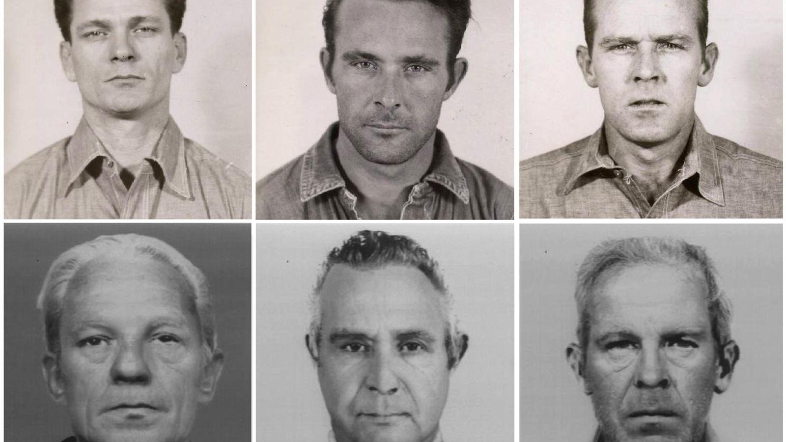 Foto: Arriba, las fotos de los presos huidos: Frank Morris, Clarence Anglis y John Anglis. Abajo, su supuesto rostro con el paso de los años (Reuters)