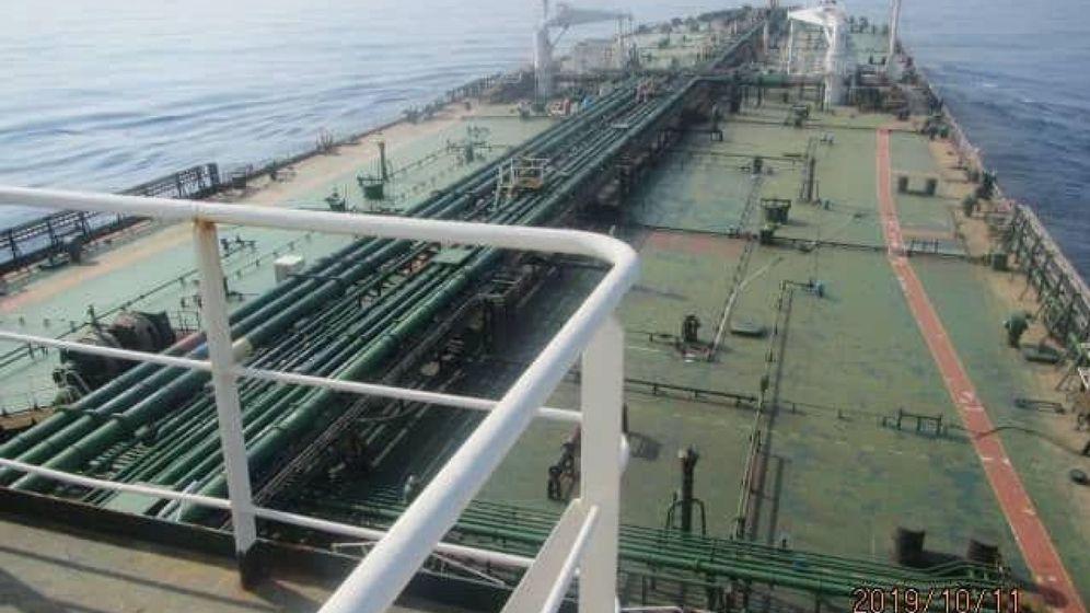 Foto: Imágenes del petrolero atacado publicadas por la televisión estatal iraní. (EFE)