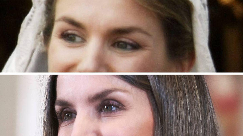 Las cejas de Letizia el día de su boda (2004) y en 2019. (Getty)