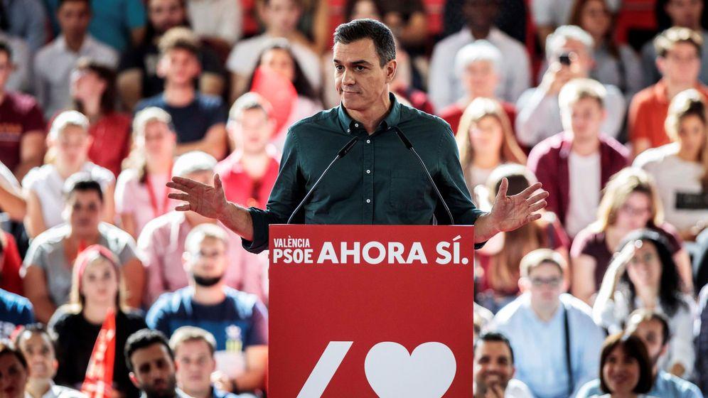 Foto: Pedro Sánchez este sábado en un mitin en Valencia. (EFE)