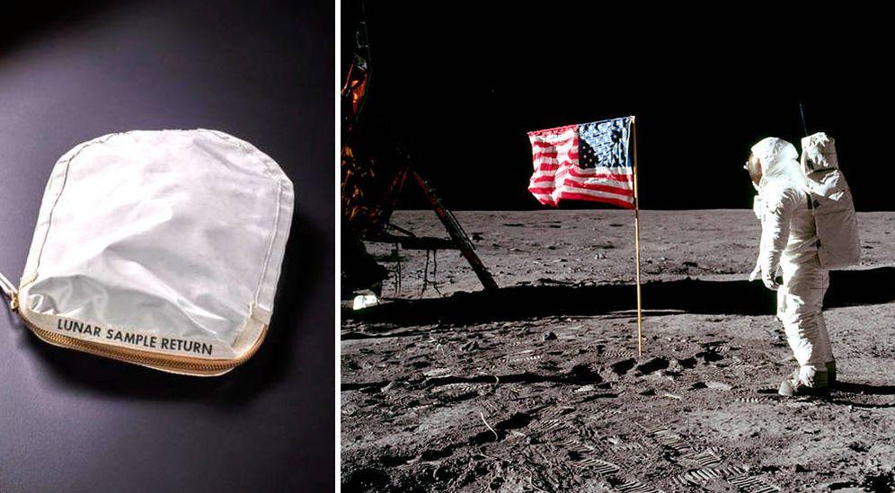 Foto: A la izquierda, la bolsa con restos de polvo lunar que se subastará el 20 de julio. A la derecha, Armstrong pisando la Luna