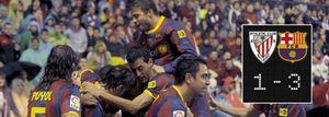 El Barça doblega a diez 'leones' y aprovecha el tropiezo del Madrid