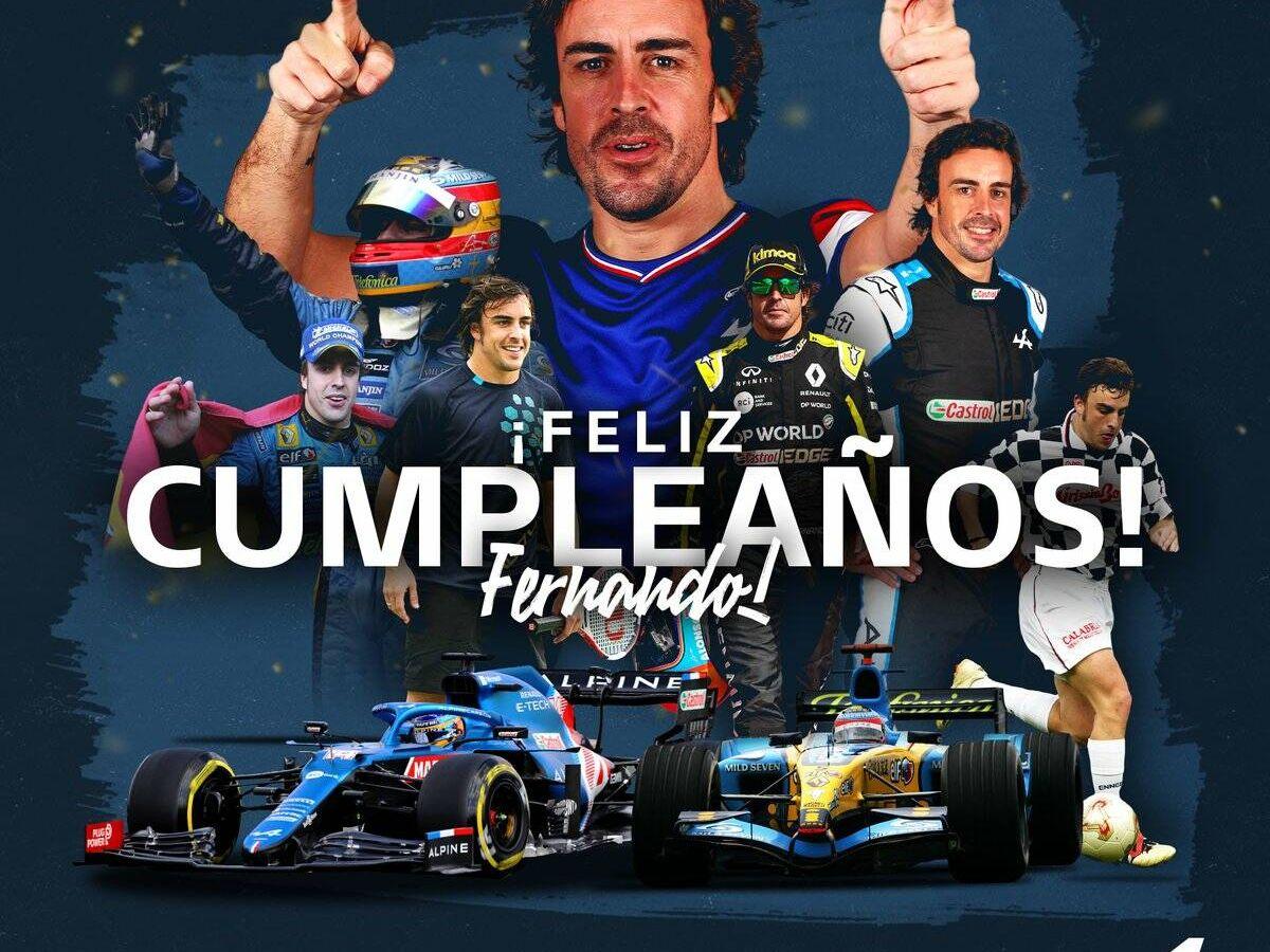 Foto: Alpine festejó por todo lo grande en el 'paddock' el 40 cumpleaños de Alonso.