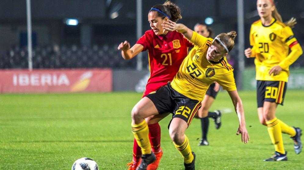 Foto: Andrea Sánchez Falcón, ante Bélgica, en un choque de este año. (EFE)