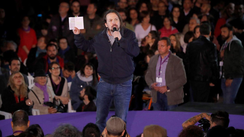 Foto: El secretario general de Podemos, Pablo Iglesias, interviene en el acto con el que el partido inicia su campaña electoral. (EFE)