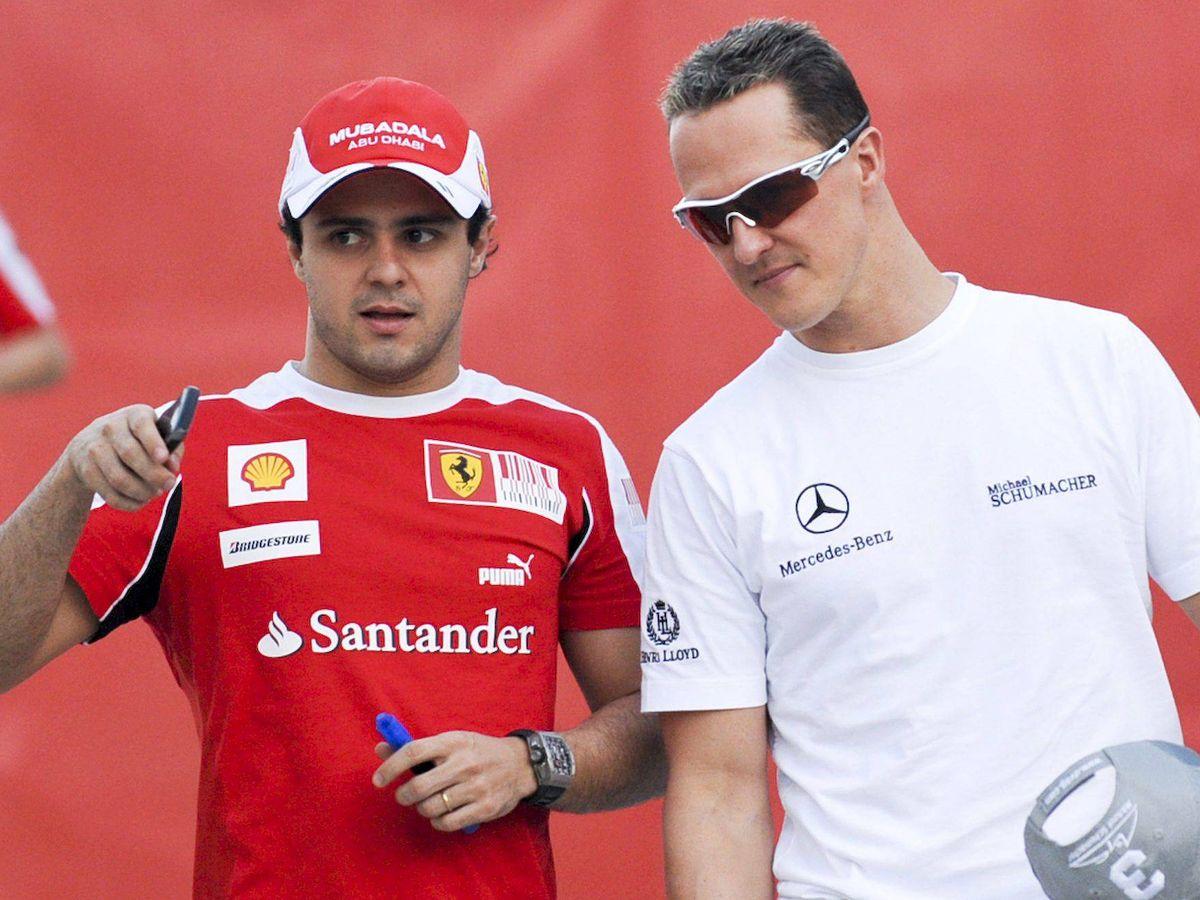 Foto: Felipe Massa junto a Michael Schumacher en 2010. (EFE)