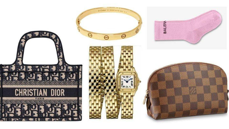 Bolso de Dior, reloj y pulsera de Cartier, calcetines de Balenciaga y neceser de Louis Vuitton. (Cortesía)