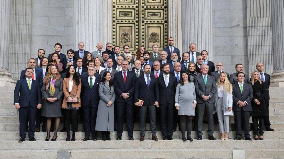 Foto:  Los 52 diputados de Vox en las puertas del Congreso. (Vox)