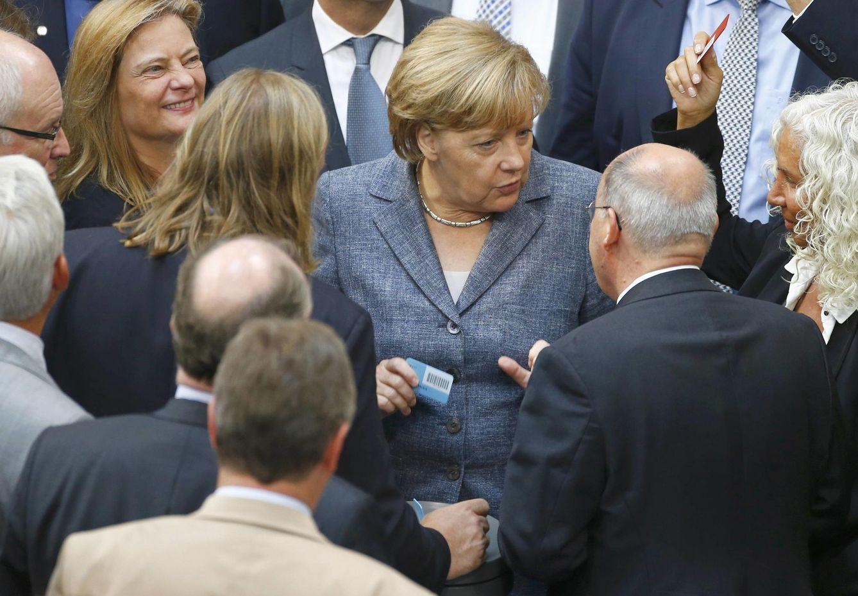 Foto: La canciller Angela Merkel durante la sesión celebrada en el Bundestag sobre Grecia, el 19 de agosto de 2015 (Reuters).