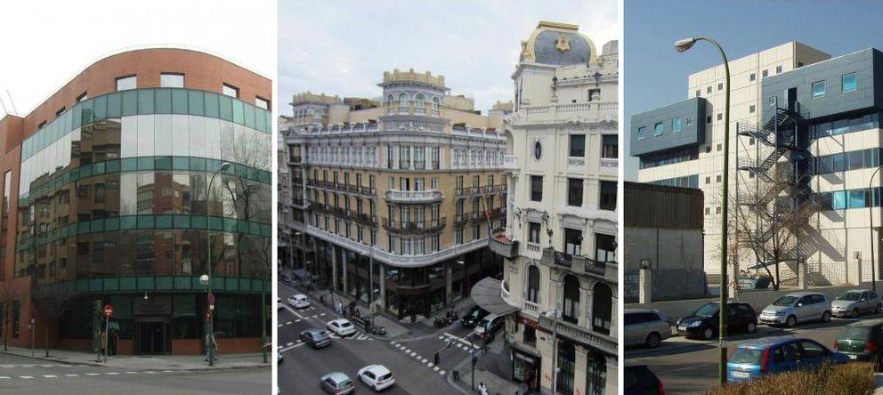 Foto: Edificios de la Comunidad de Madrid en Embajadores, 181; Gran Vía, 18 y Vía Lusitana, 21.