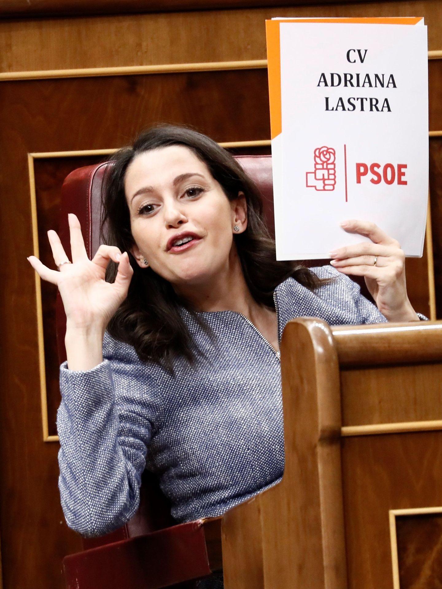 La portavoz de Ciudadanos, Inés Arrimadas, durante la segunda jornada del debate de investidura. (EFE)