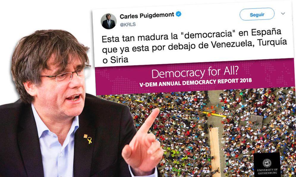 Foto: El tuit de Puigdemont sobre el 'informe sueco'.