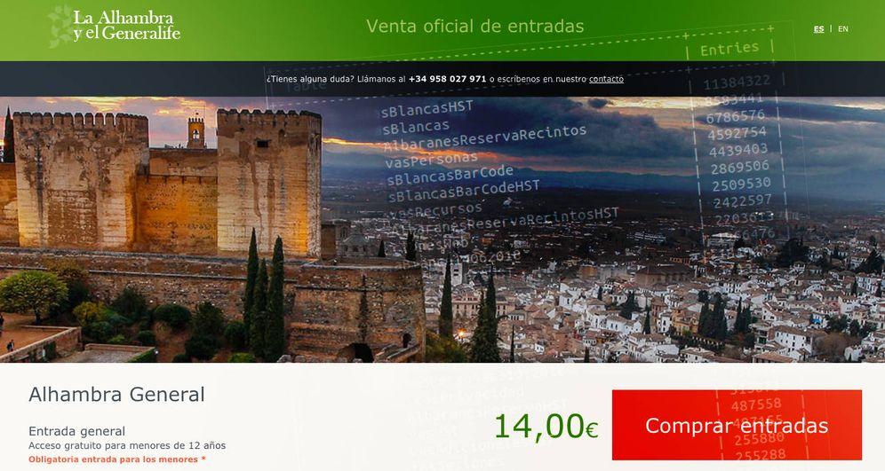 Foto: La web oficial de venta de entradas de la Alhambra. (Imagen: EC)