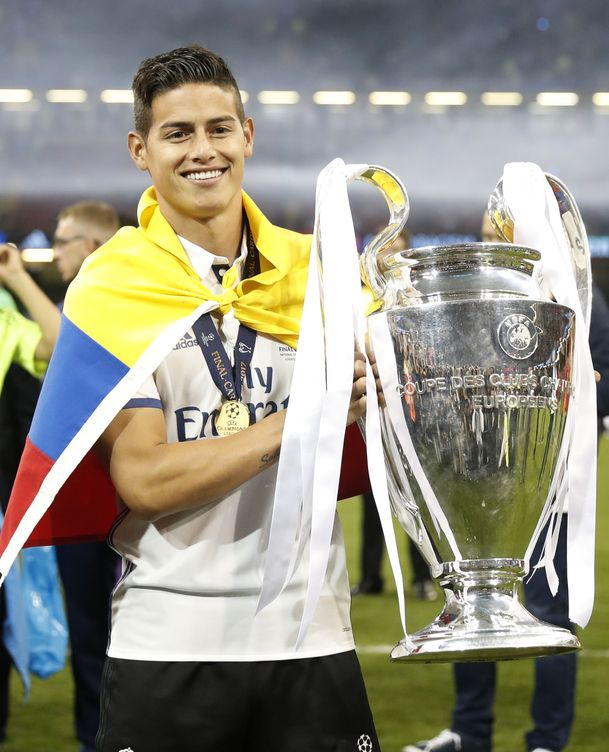 Foto: James Rodríguez celebra la última Champions en Cardiff. (Foto: Reuters)