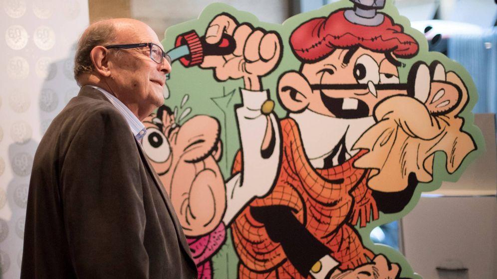 Foto: Francisco Ibáñez, creador de Mortadelo y Filemón, presenta 'El 60 aniversario' este miércoles en Barcelona. (Efe)