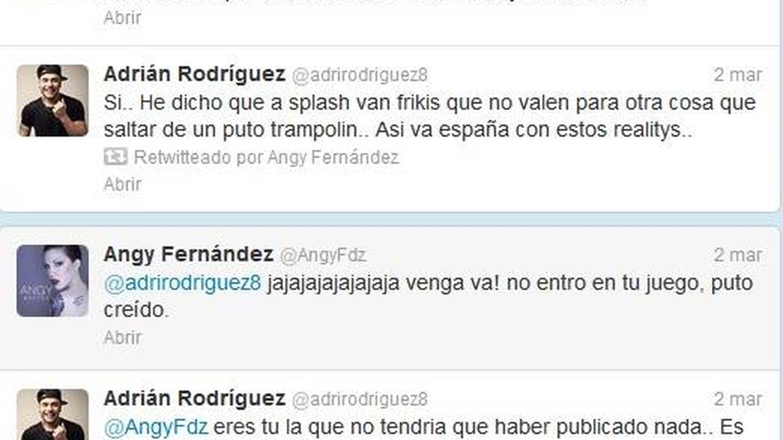 El enfrentamiento entre Angy y Adrián Rodríguez por sus críticas a 'Splash'.