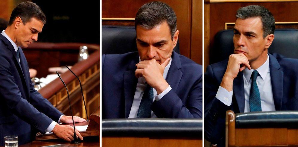 Foto: Combo del presidente del Gobierno en funciones y candidato socialista a la presidencia del Gobierno, durante la segunda y definitiva votación para su investidura en el Congreso. (EFE)