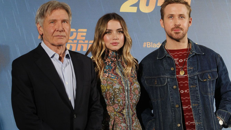 Foto: Harrison Ford, Ana de Armas y Ryan Gosling en la presentación de 'Blade Runner 2049' en Madrid | Cordon Press