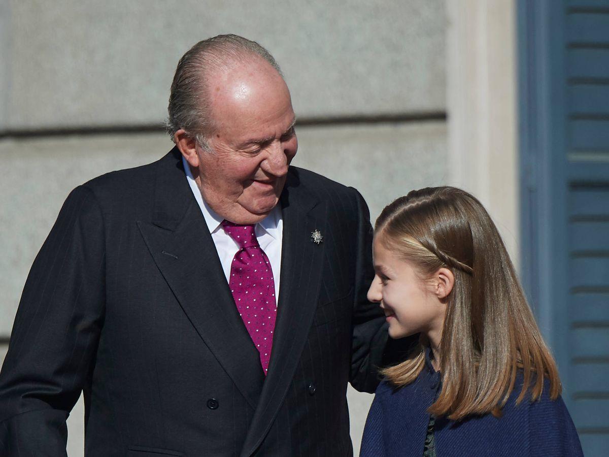 Foto: La princesa Leonor y su abuelo, en la última imagen pública que se tiene de ellos. (LP)