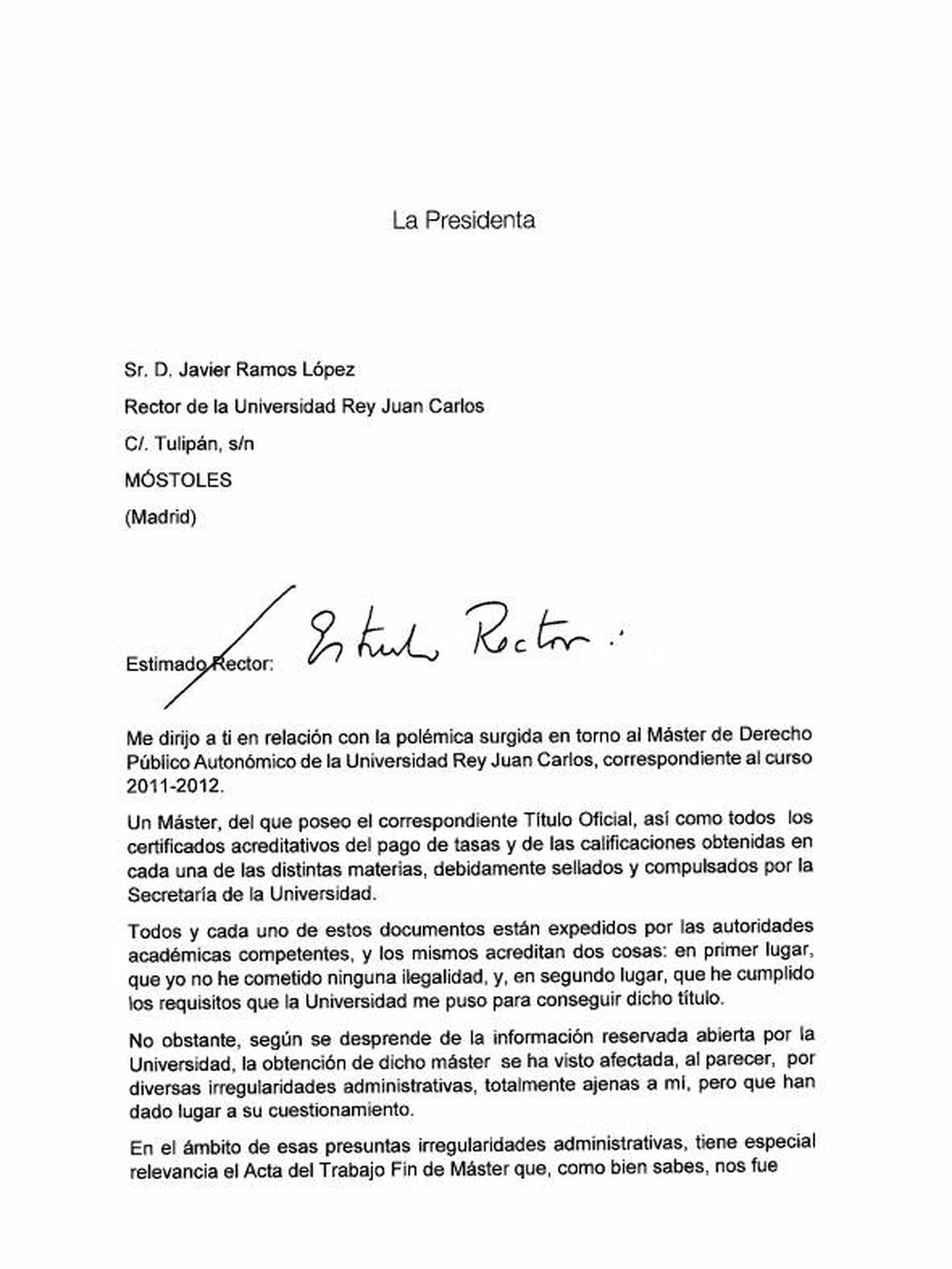 Pulse en la imagen para leer la carta de Cristina Cifuentes