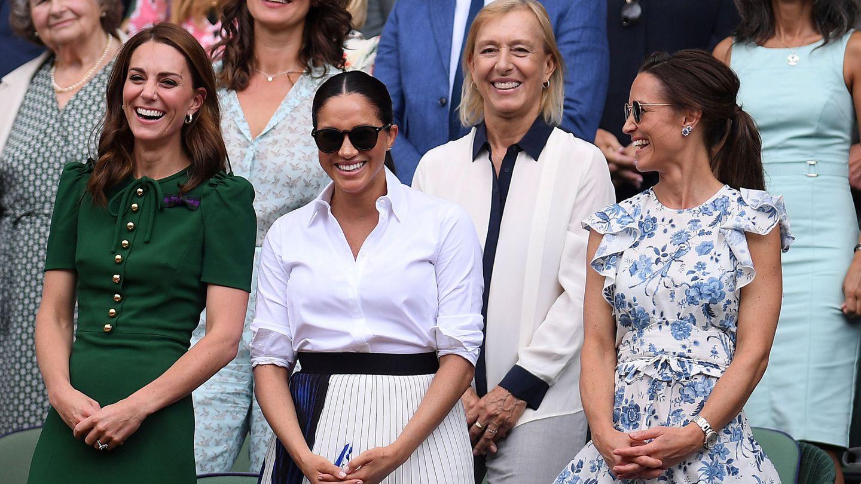 Kate Middleton, Meghan Markle y Pippa Middleton en Wimbledon 2019. (Reuters)