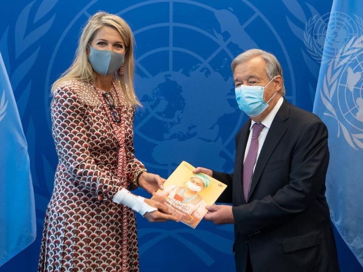 Foto: La reina Máxima, junto al secretario general de la ONU. (EFE)
