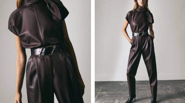 Top y pantalón de piel de Massimo Dutti. (Cortesía)