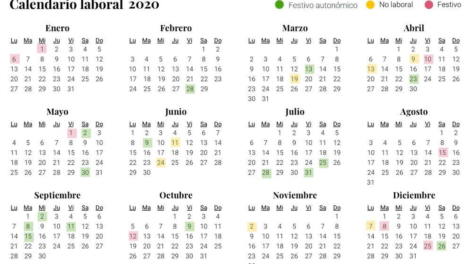 Calendario Laboral De 2020 Ocho Festivos Nacionales Y Gran Puente De La Constitución