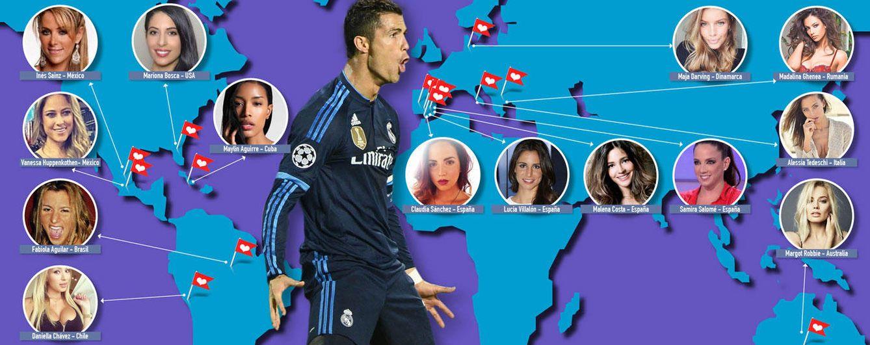 Foto: El mapamundi de las conquistas de Cristiano Ronaldo (Fotomontaje: Vanitatis)