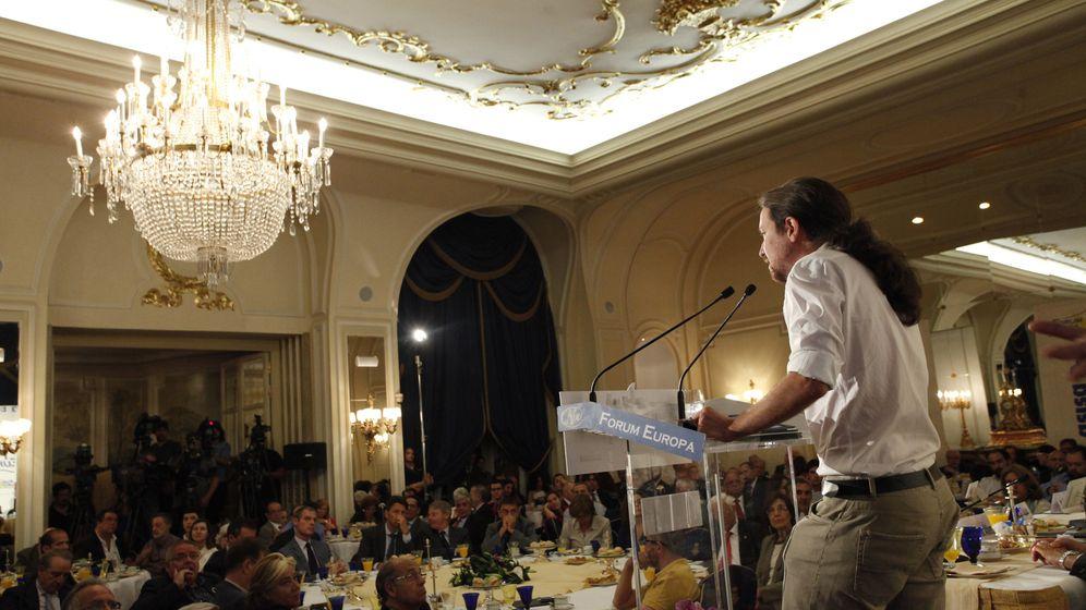 Foto: El líder de Podemos, Pablo Iglesias, en un discurso en el Ritz. (E. Villarino)