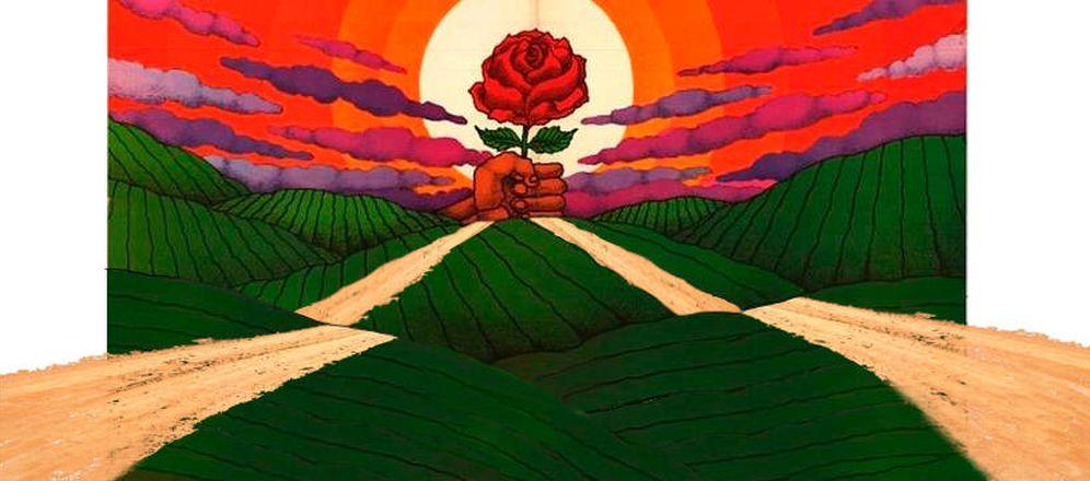 Foto: Versión modificada de un mítico cartel electoral del PSOE diseñado por José Ramón (Sánchez) con la rosa de Cruz Novillo (1977).