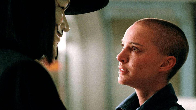 La actriz, en 'V de Vendetta'. (Warner)