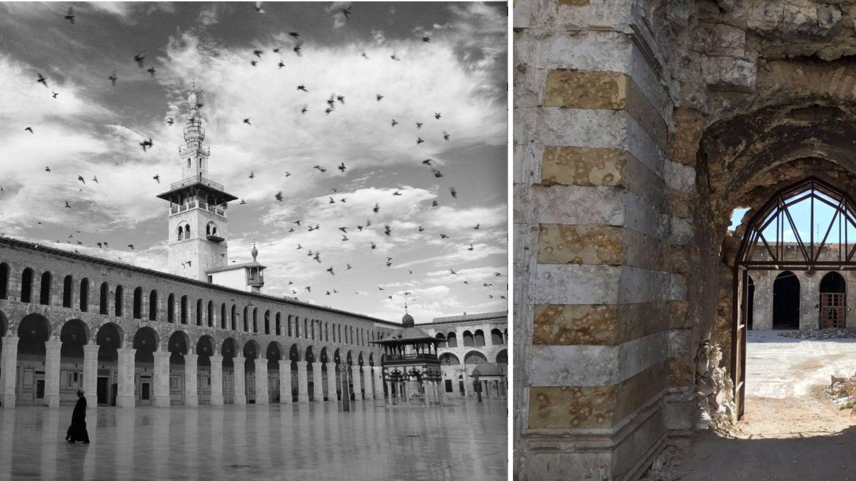 Comparativa entre la mezquita Omeya de Damasco y la de Alepo.